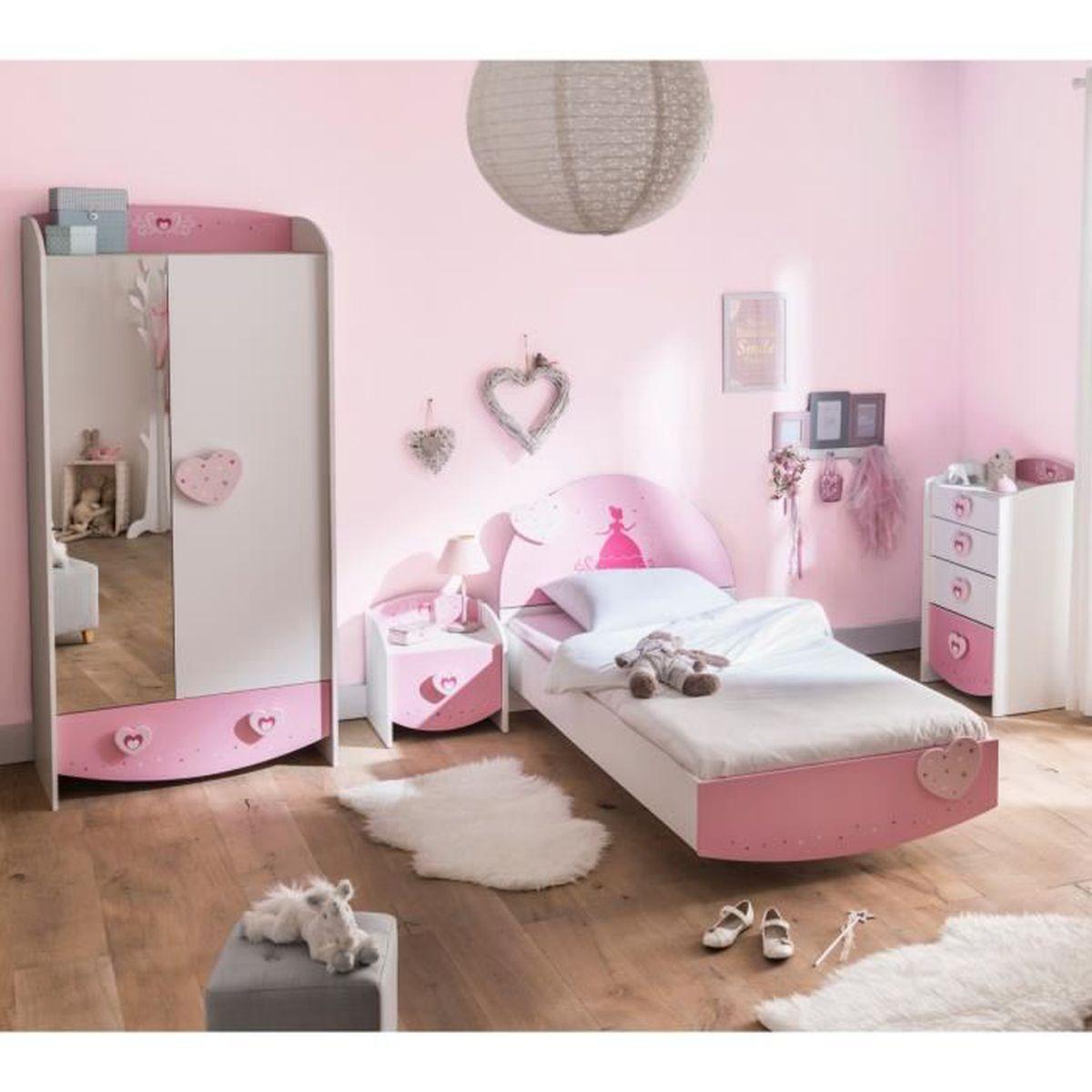 Chambre enfant féérie rose et blanc perle CB125 90x190