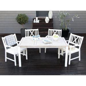 Salon de jardin 4 places : 1 table 160x90cm + 4 fauteuils en acacia ...