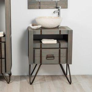 Meuble salle de bain metal et bois - Achat / Vente pas cher