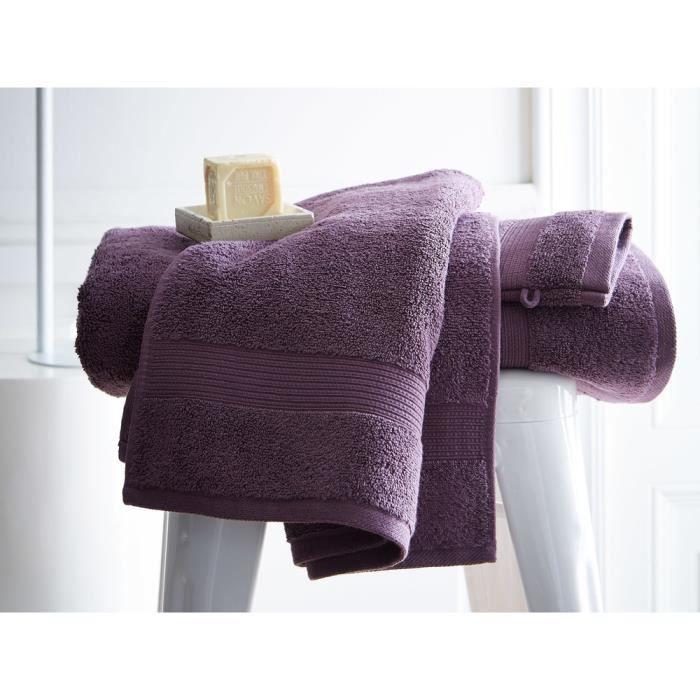 TODAY Drap de bain Premium - 100% coton 600 g/m²- 70 x 130 cm - Violet figue
