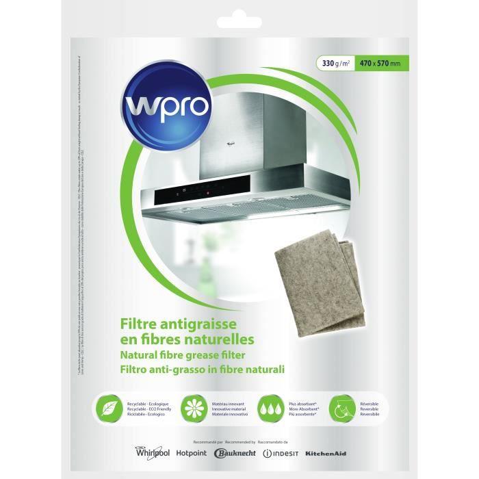WPRO NGF331 Filtre antigraisse universel en fibres naturelles de lin - 330g/m² - 47 x 57 cm - hyper absorbant et écologique