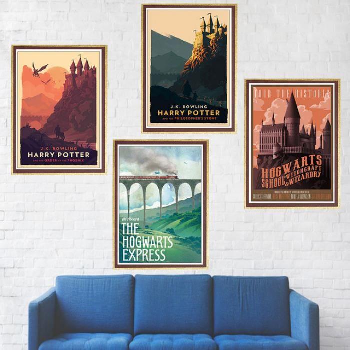 Harry Potter Affiche Poudlard Express Diagon Ruelle Hogsmeade Enduit Papier