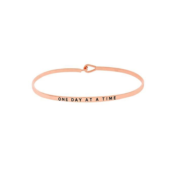 Womens Thin Hook Bangle Bracelet one Day At A Time IMRD7