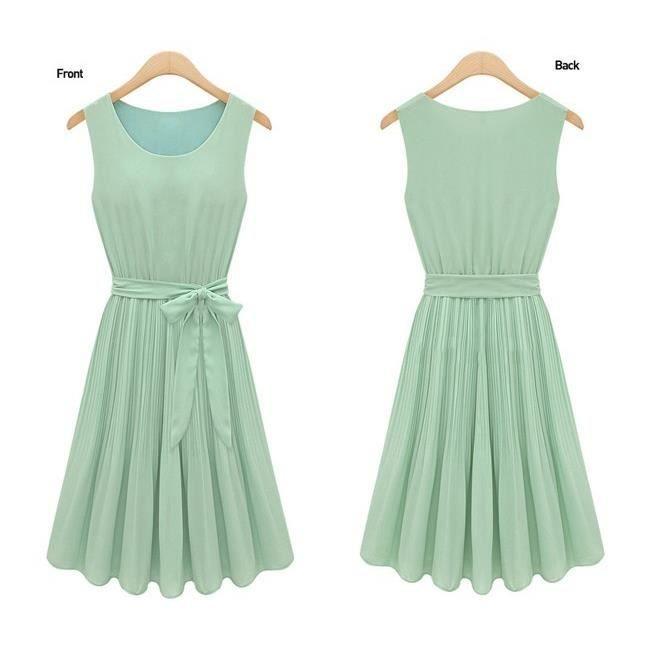 robe en mousseline de soie avec jupe pliss e vert tu robe en mousseline de soie avec jupe. Black Bedroom Furniture Sets. Home Design Ideas