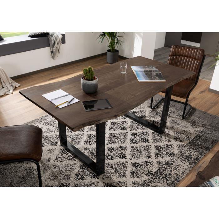 Table A Manger 220x100cm Bois Massif D Acacia Laque Fer Brut Bois Taupe Design Moderne Naturel Freeform 3