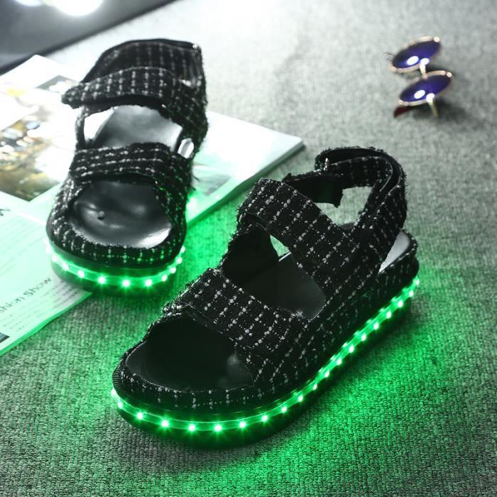 KIANII® Sandales Femme Lumineuse Chaussure LED Sandales 7 multicolore Sandales USB rechargeable Sandales Légères jusqu'à Glow 2016 jO95nJ