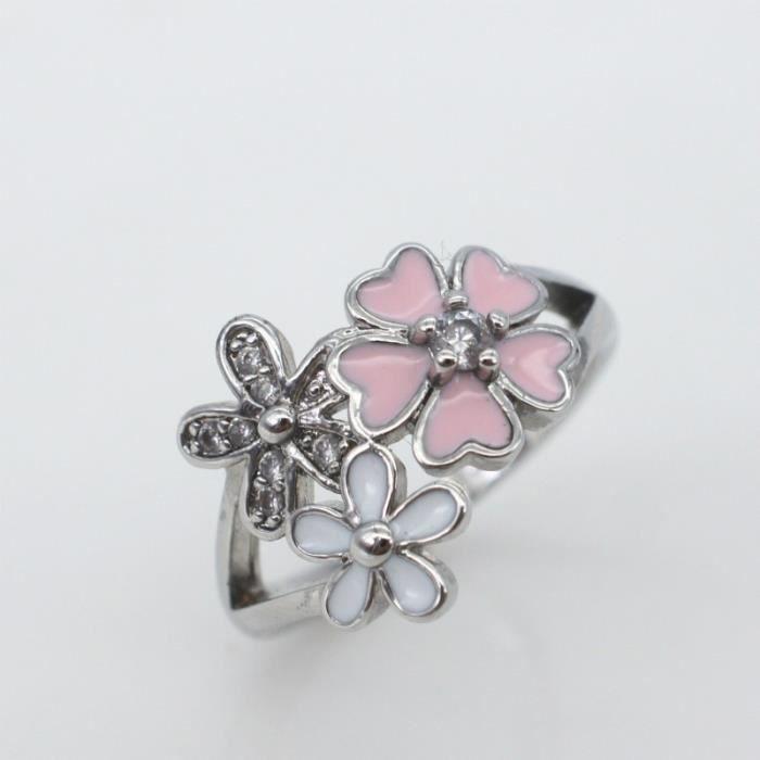 1761 Bague Argent Cerise Diamant Femme Fleur Rose Taille10