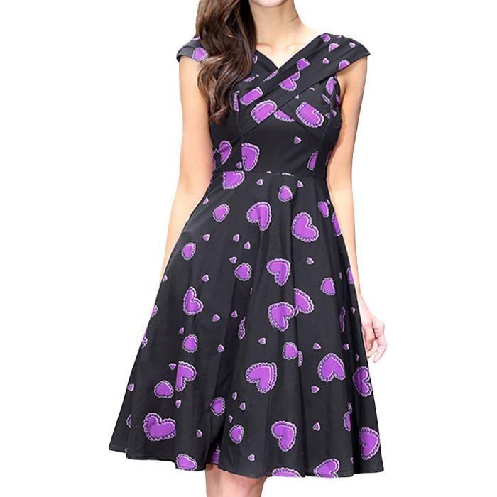 Napoulen®Mode Rétro Impression robe de soirée sans manches Prom Swing pour femmes Violet LLL80307023PP