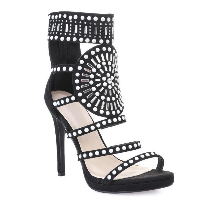 5307c31a135b Sandales noires à lanières avec strass et perles-36 Noir Noir ...