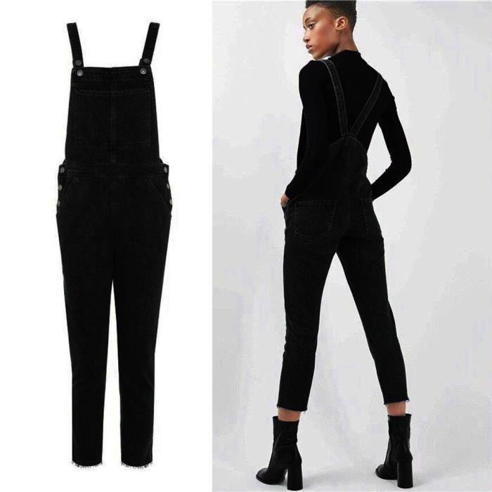 28e310f670aa6 Noir ensemble pantalon décontracté combinaison Jeans féminin poches de  pantalon Noir ZLY71218781