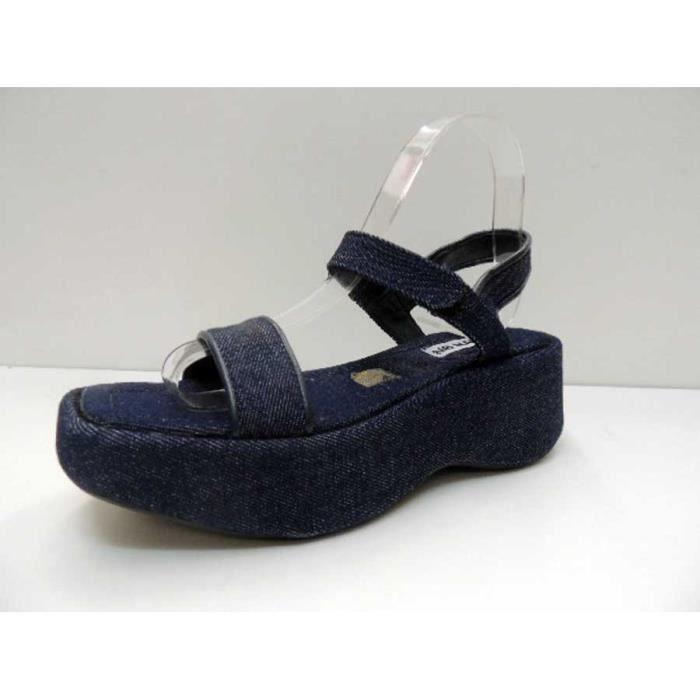 Chaussure Sandale No Name Linda à talon compensé Blue Jeans Velcro Pointure 38
