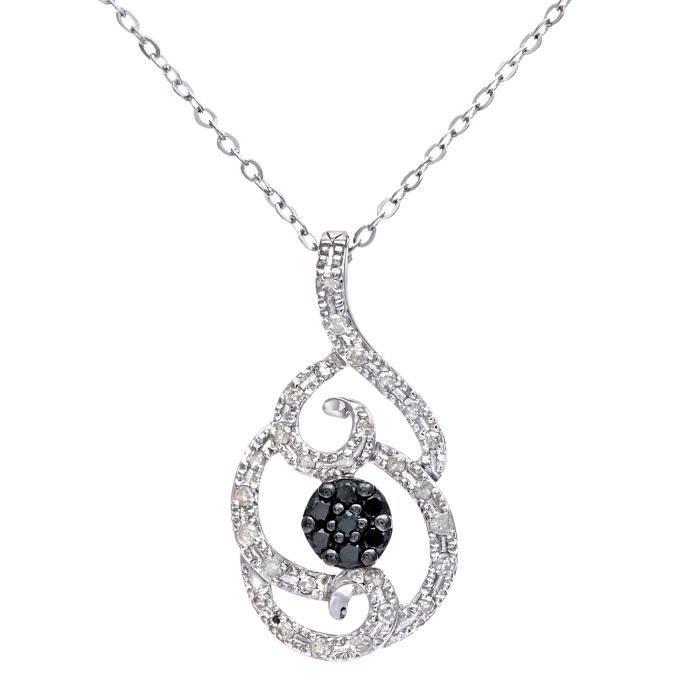 Revoni - Pendentif en or blanc 9 carats, pavage diamants blancs et noirs, motif fleur, chaîne 46 cm