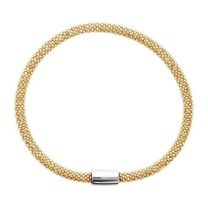Bracelet 19cm Tube Fermoir Aimanté Doré Argent