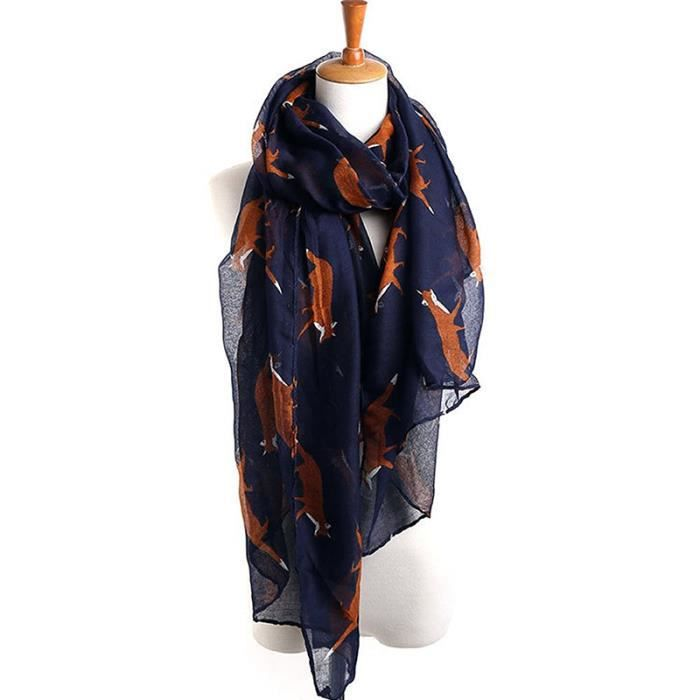 239705021e9 a Long Mignon Renard echarpe Imprimee Dame Des Femmes De Enroule Chale  Foulards Doux (Bleu)