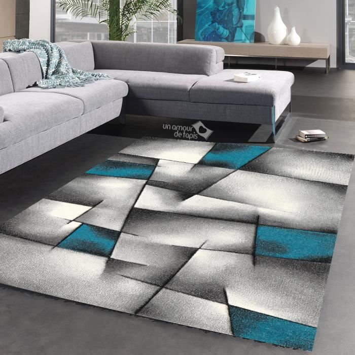tapis triangula bleu tapis moderne 240 x 340 cm achat vente tapis cdiscount. Black Bedroom Furniture Sets. Home Design Ideas
