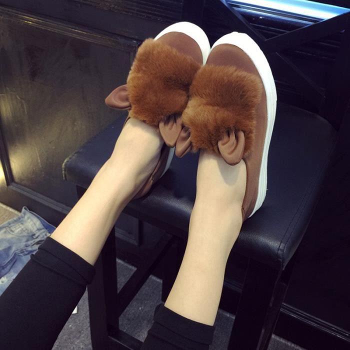 Chaussures Femmes Hiver plate Chaussures BLKG-XZ060Jaune35 q6oVEZvjW