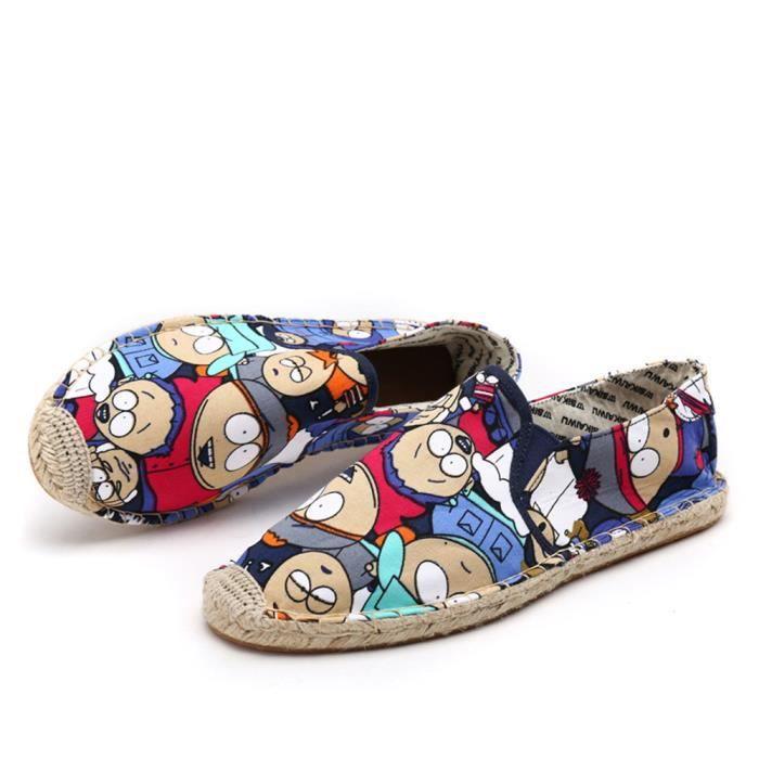 Fashion Unisex Espadrille Cartoon Mode Chaussures de tissage Chaussures de chanvre Extrêmement sec Séquences d'été de paille Bleu