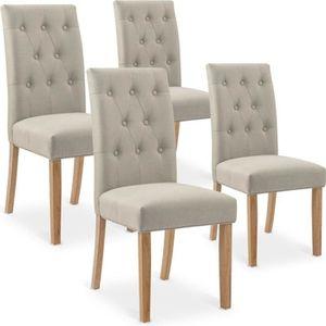 CHAISE Lot de 4 chaises Gaya capitonnées en tissu beige