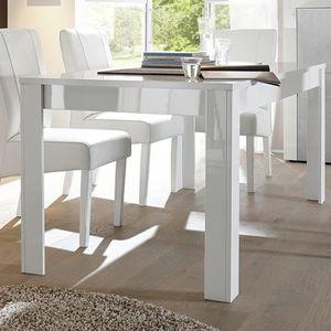 TABLE À MANGER SEULE Table à manger blanc laqué brillant design BROOKLY