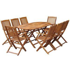 Salon jardin bois table ovale