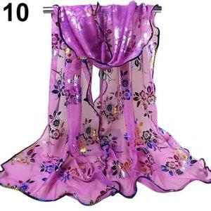 e61bebe315e7 ECHARPE - FOULARD Mode féminine imprimé floral Tulle écharpe longue