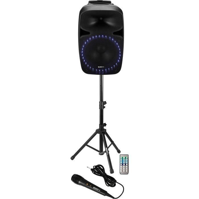 """BOOST 15-2427BO Système de sonorisation avec tuner FM, Lecteur USB/SD + Bluetooth 15""""/38cm - 500w"""