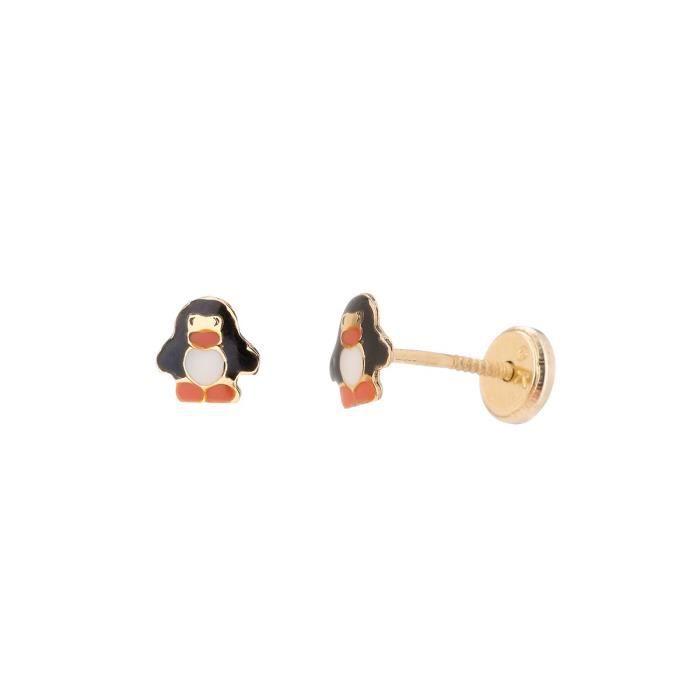 YSORA - Boucles D'Oreilles Pinguin en Or Jaune à Vis - Enfant