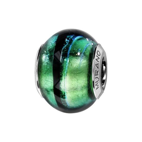 Charms Argent 925 Perle Murano Vert Reflet Bleu Filet Noir