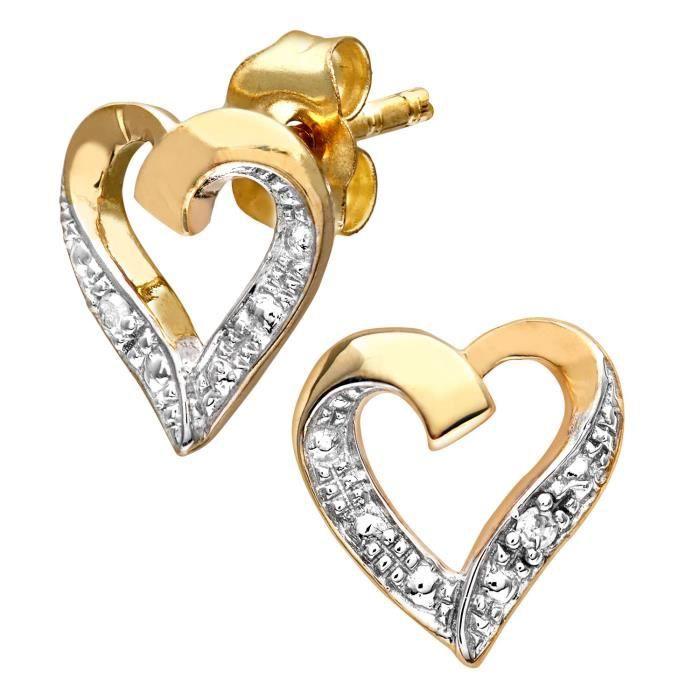 Boucles Doreilles - Pe04605y - Femme - Coeur - Or Jaune 375-1000 (9 Cts) 0.85 Gr - Diamant YSA40