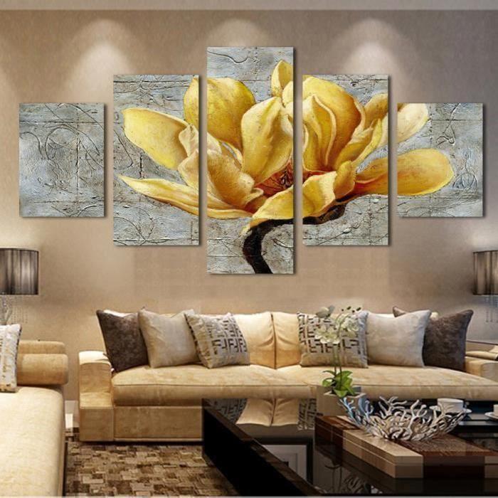 5 tableaux tableau peinture sur toile or orchid e peinture la fleur peinture murale art. Black Bedroom Furniture Sets. Home Design Ideas