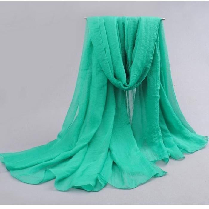 6e15f594e6dc Foulard Femme Etole Mousseline de Soie Vert Bleu - Achat   Vente ...