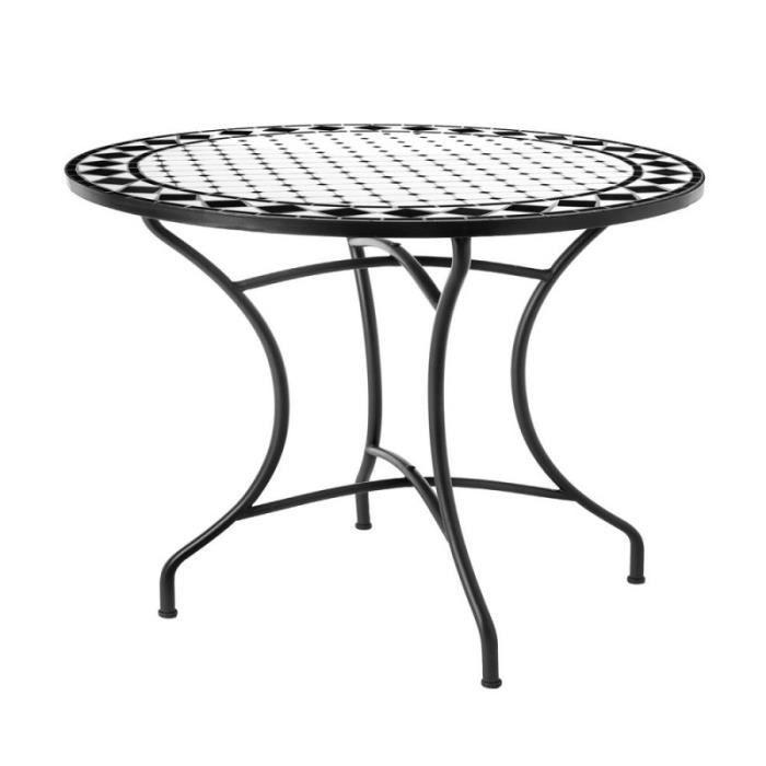 Table de jardin ronde 90cm plateau céramique et structure ...