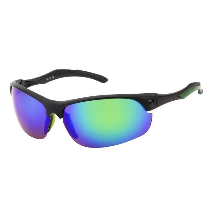 Lunette soleil sport confortable-S515 Noir, verre miroir bleu/vert