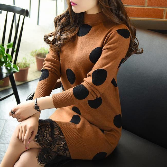 BROWN Dot sections à manches longues et longues talonnage pull en tricot robe en dentelle.