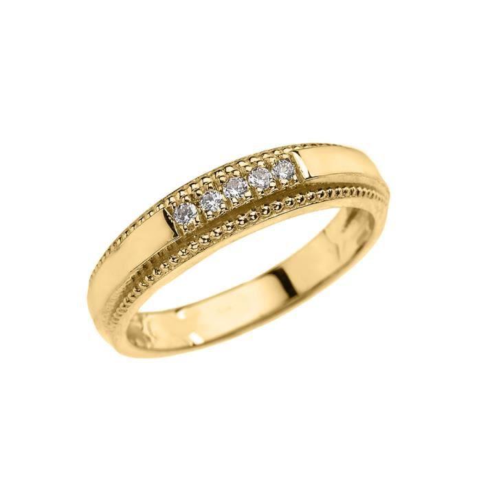 Bague Femme- Alliance 14 Ct Or Jaune Diamant