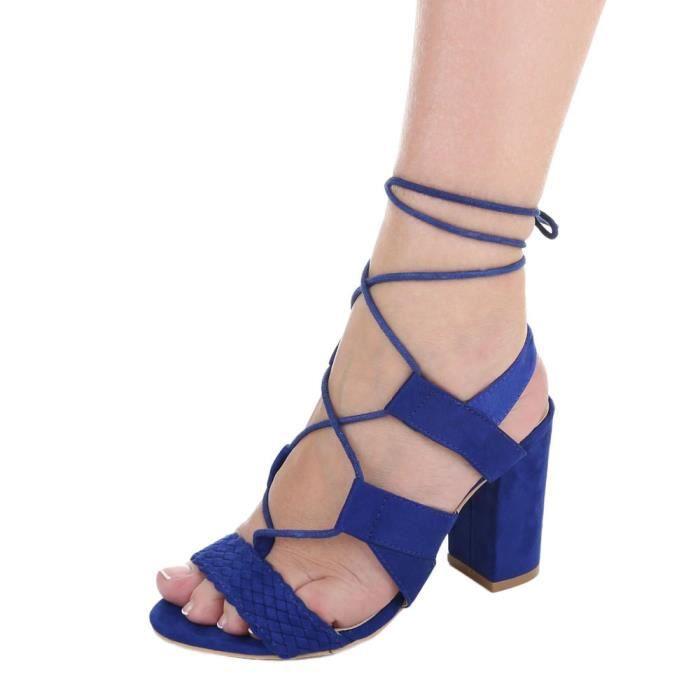 Chaussures femme sandale à talons hauts High Heels escarpin avec lacer bleu 41