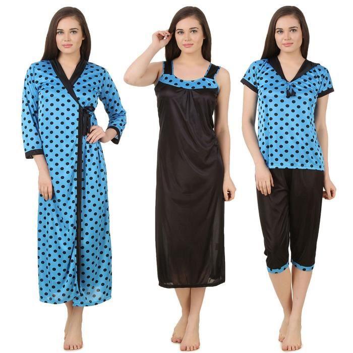 Ec618 amp; De Wrap Nighty Des 4 Capry Satin Taille Nuit Femmes Set Robe Vêtements Dp156 Long Top Pc 38 aSxwqwOBd
