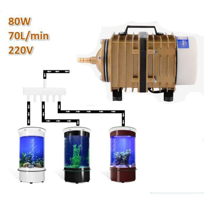 Pompe À Oxygène D'aquarium D'air Électromagnétique 70l-min 80w