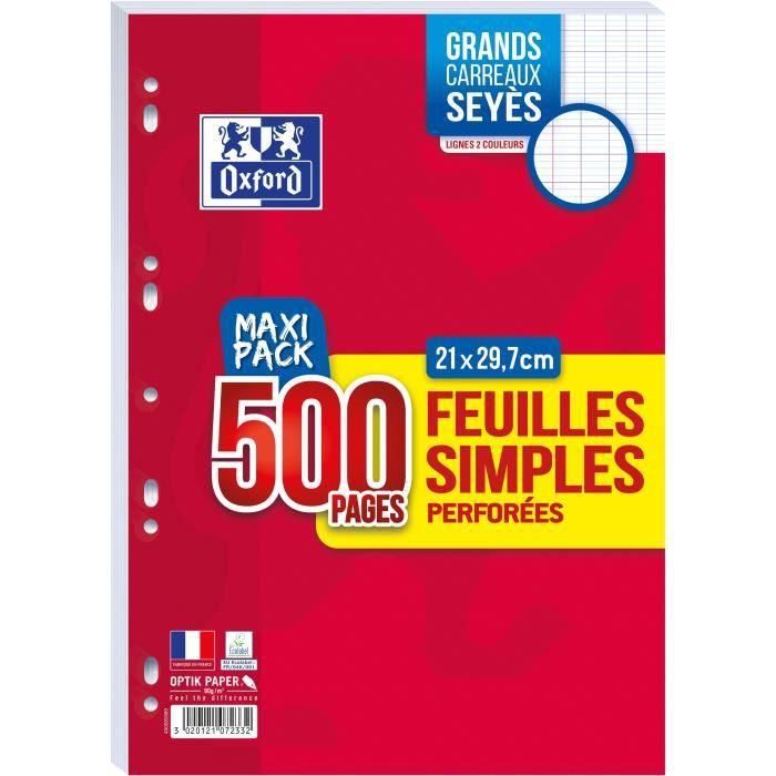 FEUILLET MOBILE OXFORD - Feuilles simples perforées 500 pages seyè