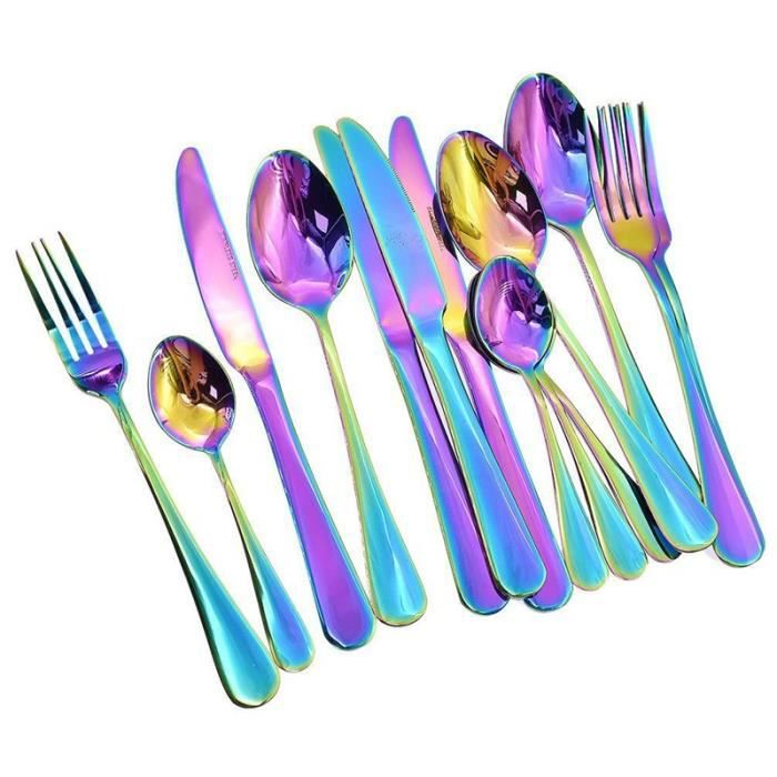 16 Pièces Stylé Cuisine Ensemble De Couverts En Acier Inoxydable Vaisselle Dîner Sets De Couverts