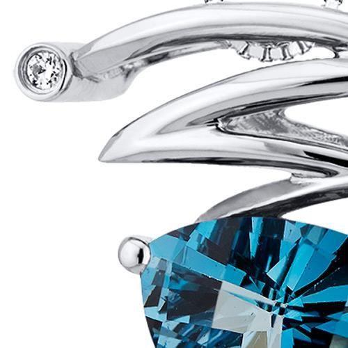 Collier avec Pendentif -Argent- Topaze bleue