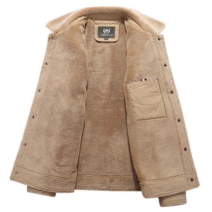 bleu Veste Homme vert Blouson Kaki Nuit Elegant Militaire Polaire En Vetement Casual Doublé Hiver Chaude Coton 1Y1xawq7