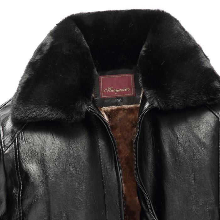 Imitation Amovibles Couleur En Fourrure Pure Zipper D'hiver Col Cuir De Tops D'homme Manteau Noir UqwIZ0f