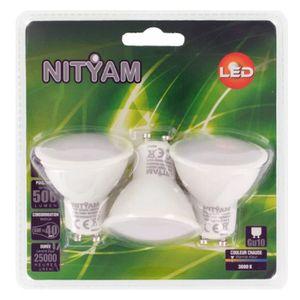 AMPOULE - LED NITYAM Lot de 3 ampoules spot LED GU10 6W équivale
