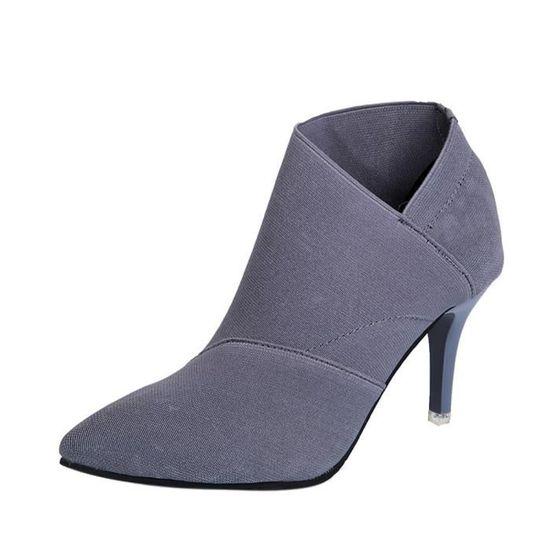 Lafayestore®point Toe Aménagée Xym70912906gy35 Femmes Simples Bottes Hiver Automne à Chaussures Haut Gris Talon OkXuiZTwP