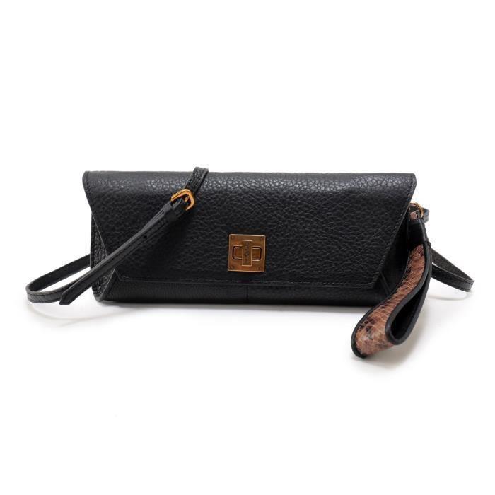 embrayages sac à main pochette avec bracelet en cuir de python UXP53