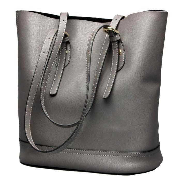 Sac à main véritable Bucket épaule fourre-tout en cuir Sacs style élégant de grande capacité XITE0