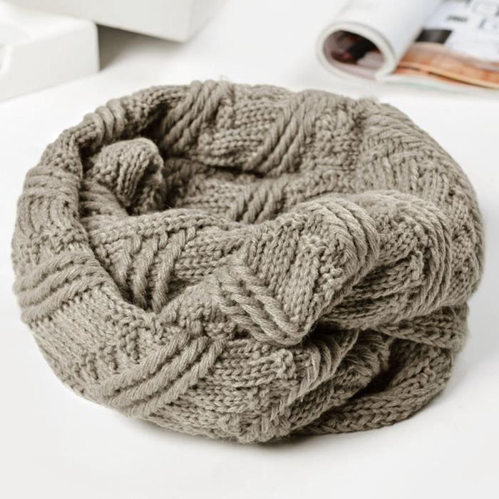 Mode femme chaud tricot col rond cou Snood écharpe polyvalente gris ... 8b9e9c60db8