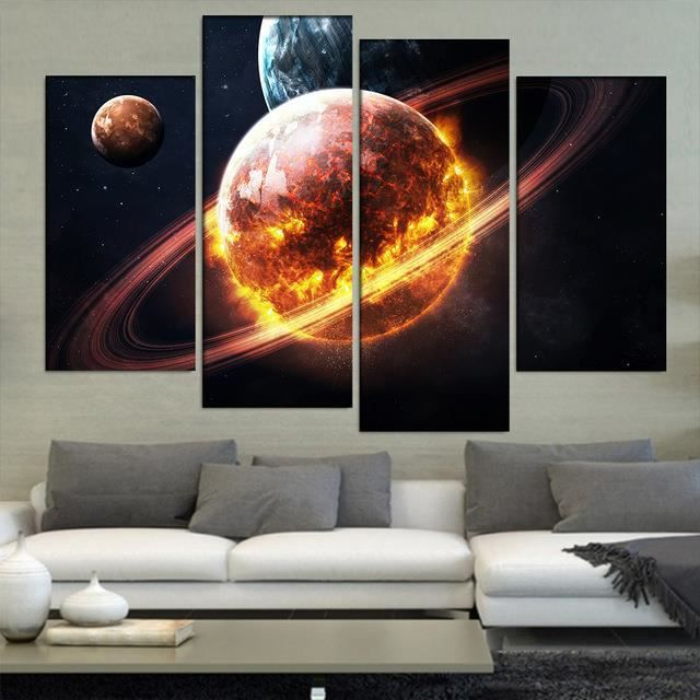4 Pcs Paysage Paysage Planétaire Peinture Moderne Nature Morte