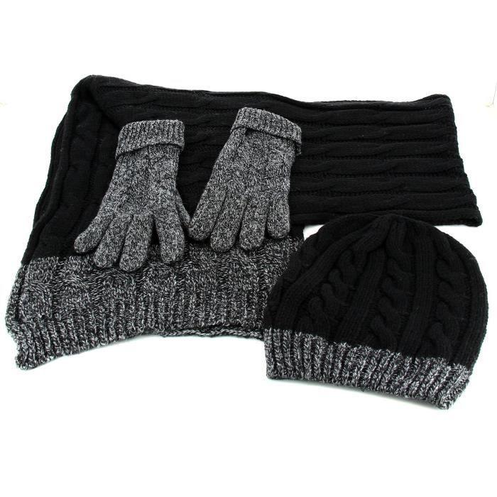8d12a66c62c Charleselie94® - Pack écharpe longue bonnet gants laine homme femme ...